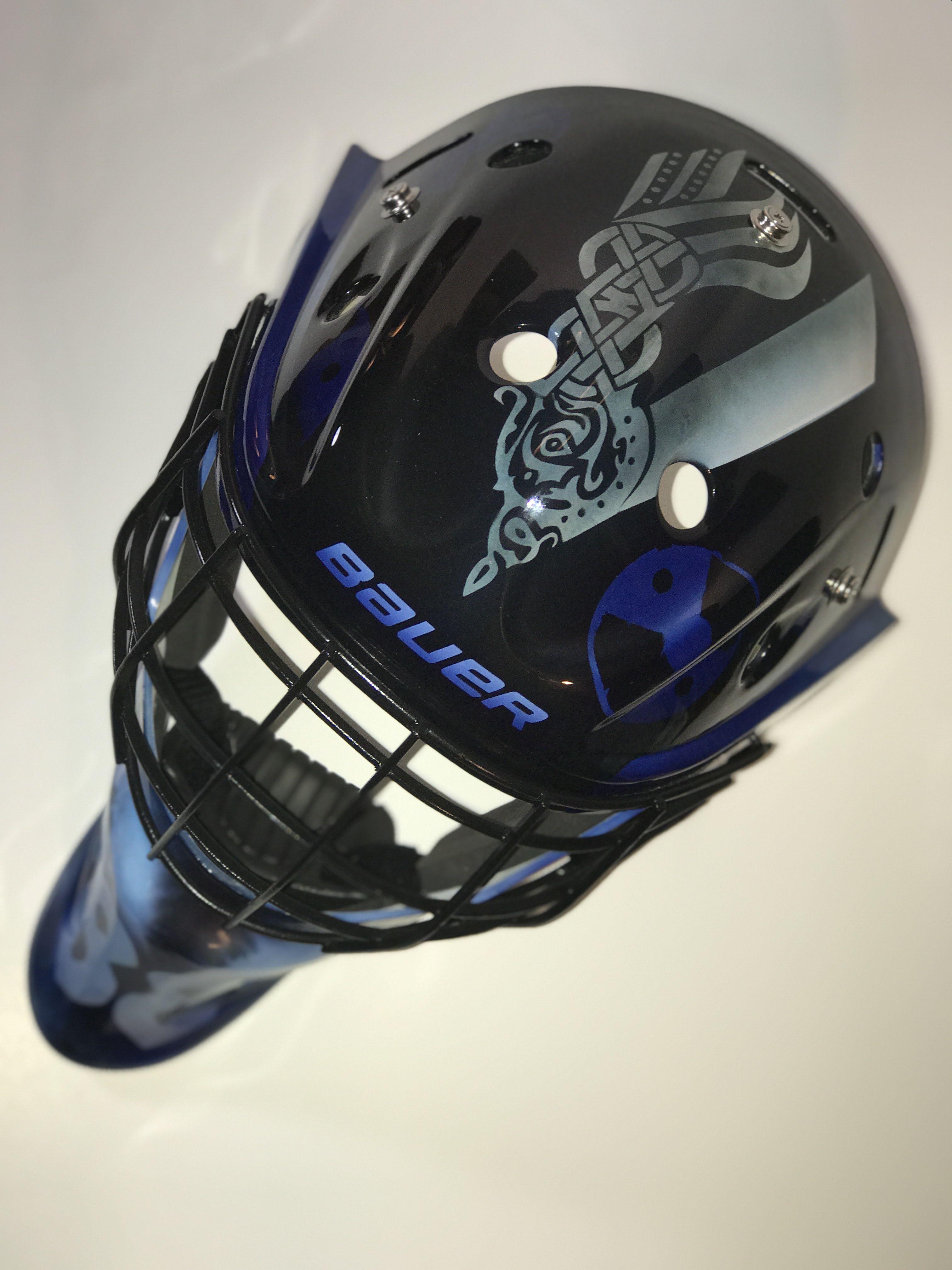 Custom airbrushed vikings goalie mask top