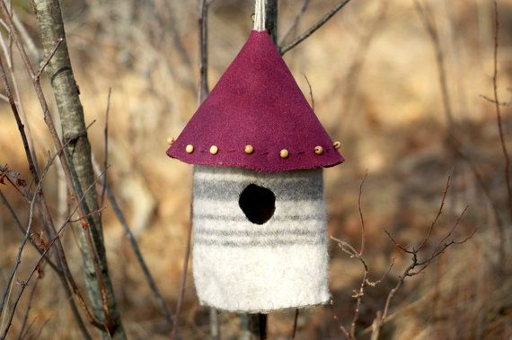 Felted Birdhouse or Fairy House  UpcycleRecycled di thesittingtree, $19.50