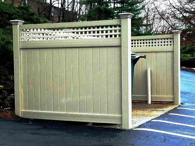 Pvc Dumpster Enclosure With A Square Lattice Topper Hide Trash Cans Trash Dumpsters Outdoor Projects