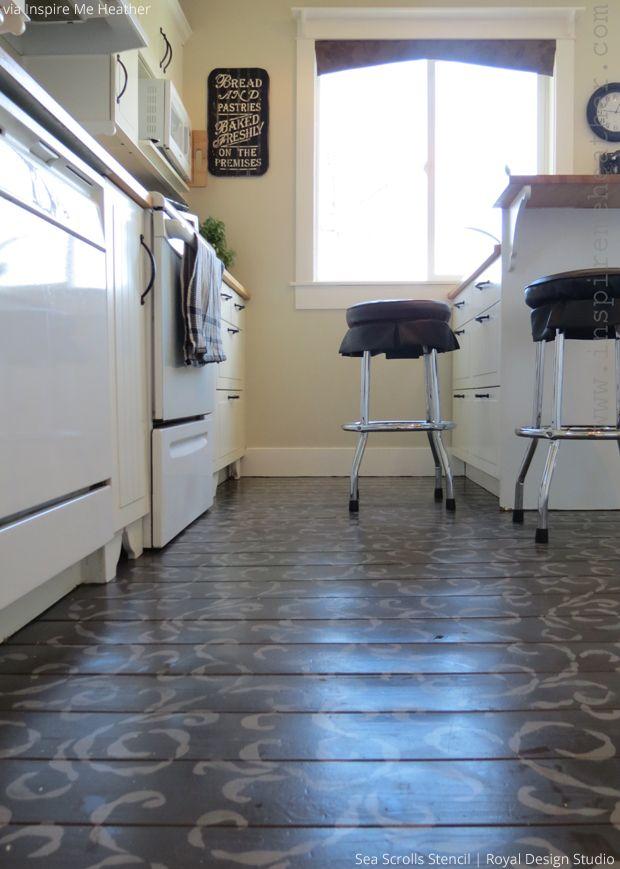 Stenciled Floor By Inspire Me Heather Sea Scrolls Stenci