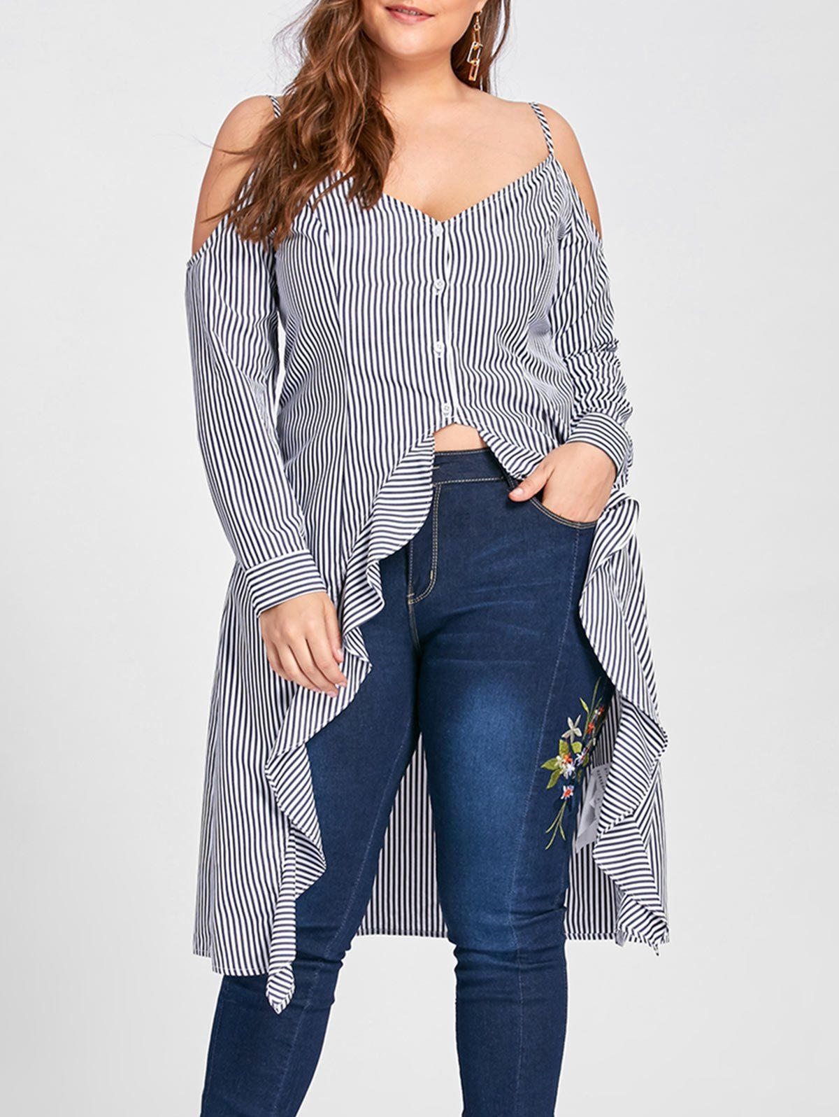 9b047557d2ef23 rosegal Cold Shoulder Blouse, Plus Size Blouses, Blouse Online, Long A Line,