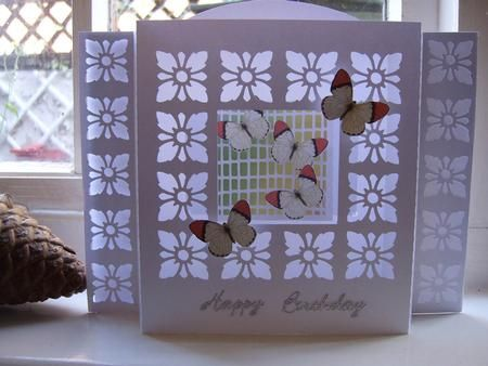 3D FRAME CARD 1 GSD on Craftsuprint designed by Clive Couter - gsd files; 3D frame card with butterflies on trellis through frame - folds flat - full instructions with illustration included - Now available for download!