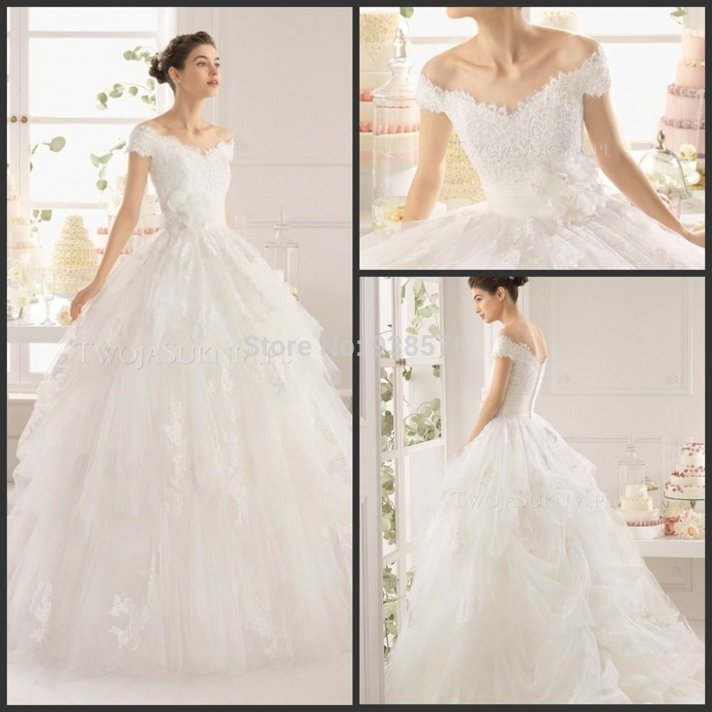 Luxurious new style white ivory short sleeve lace ball gown wedding