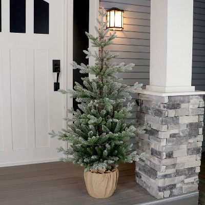 newest 28ed4 ec5d8 52 Unlit Artificial Christmas Tree Potted Flocked Balsam Fir ...