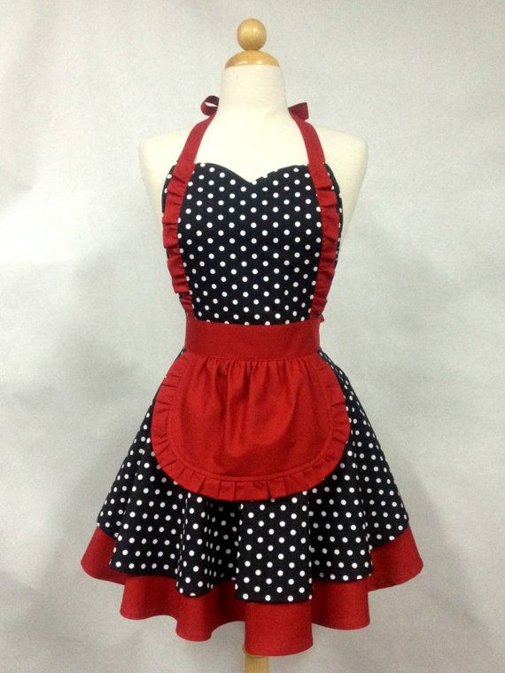 Apron French Maid Polka Dot with Red Double Circle Skirt | Apron ...