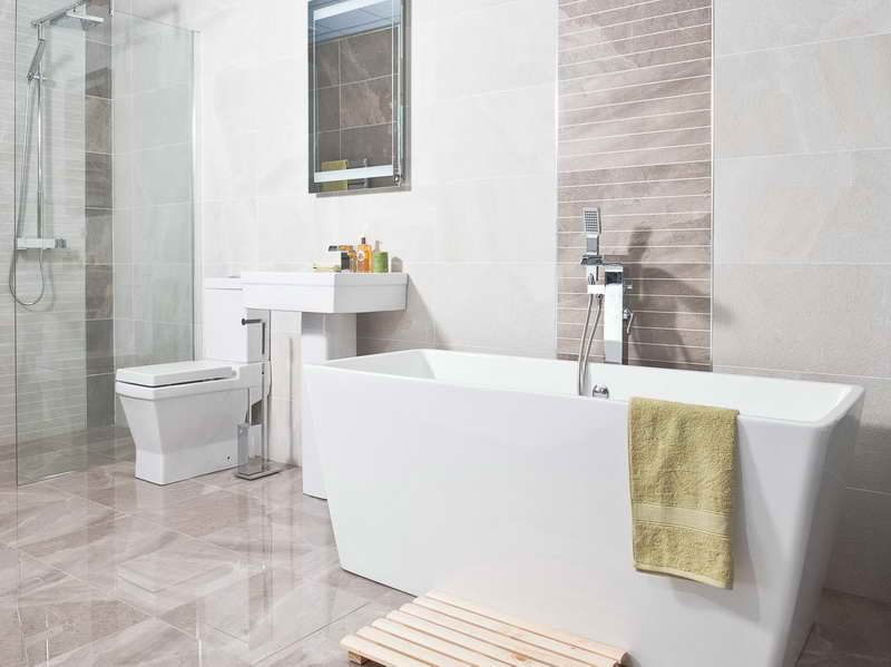 Lovely Bathroom : Images Of Bathroom Tiles Designs Can Help You Deciding The Best  One With White Towel Images Of Bathroom Tiles Designs Can Help You Deciding  The ...