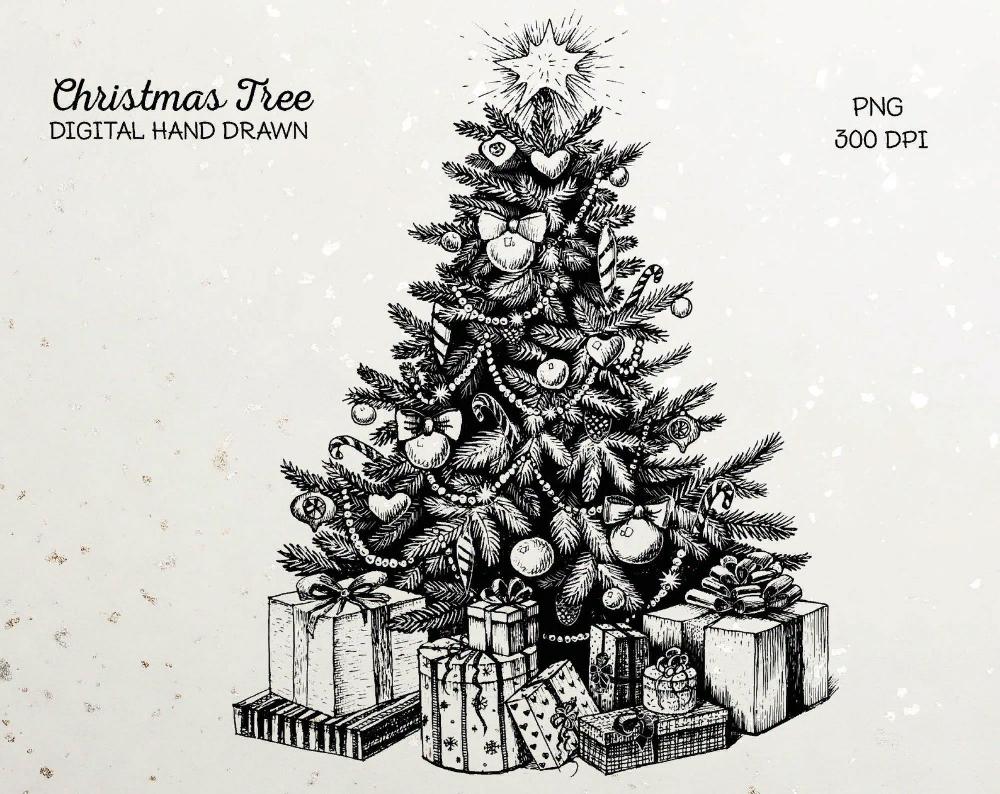 Christmas Tree Png Christmas Line Drawing Print Black And Etsy In 2021 Christmas Tree Drawing Christmas Drawing Drawing Prints