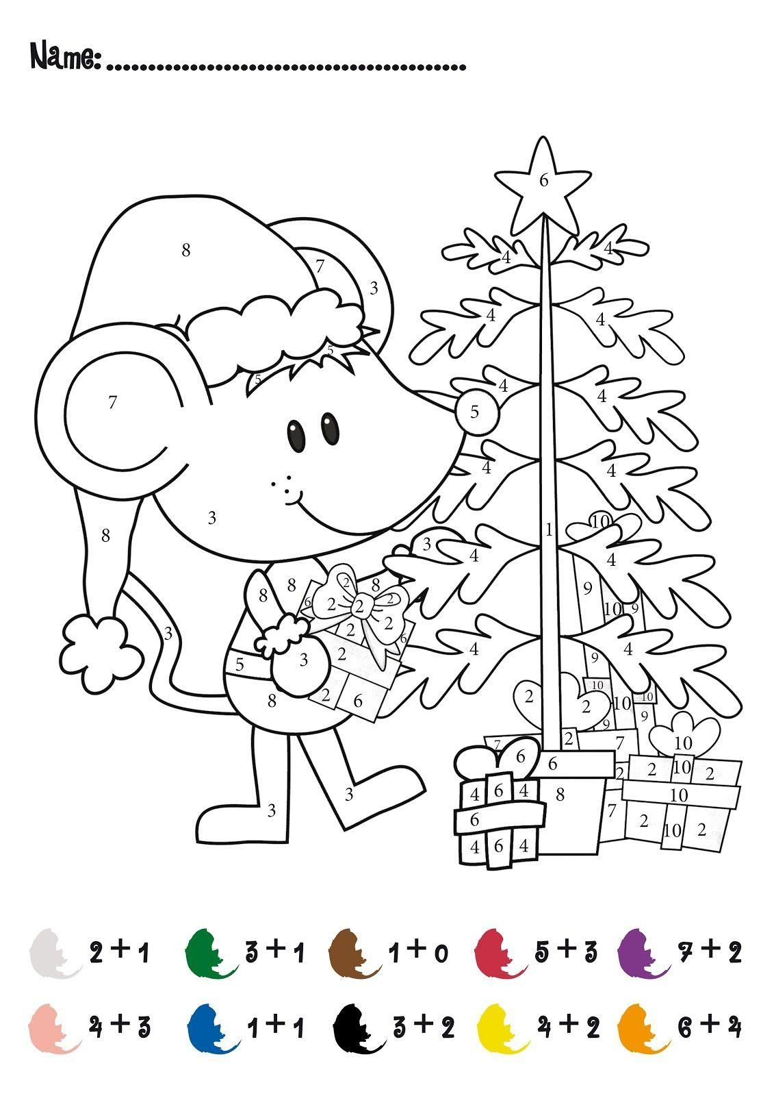 Addition And Subtraction Christmas Coloring Worksheets