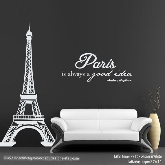 Paris Decals Wall Art eiffel tower vinyl wall decal - 7ft - with audrey hepburn quote