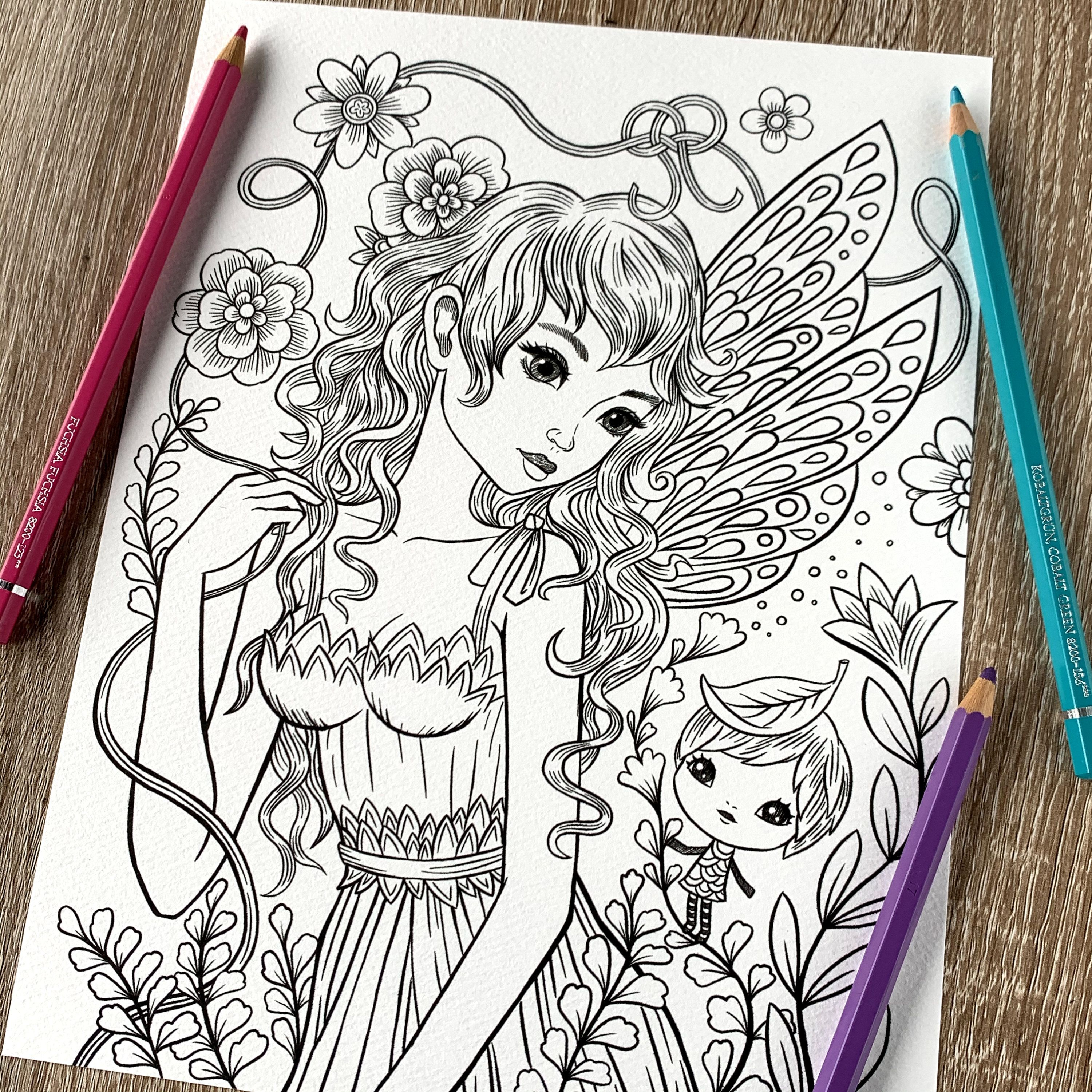 Petal Fairy By Jeremiah Ketner Print Digital Coloring Page Etsy In 2020 Coloring Pages Cute Coloring Pages Whimsical Illustration