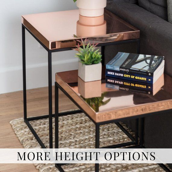 Copper End Table For Loft Modern Side Table Midcentury Nightstand