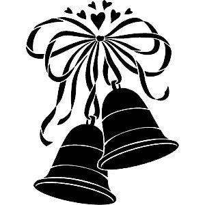 C Love 0001 Wedding Bells Bells Silhouette Stencil Dots Art