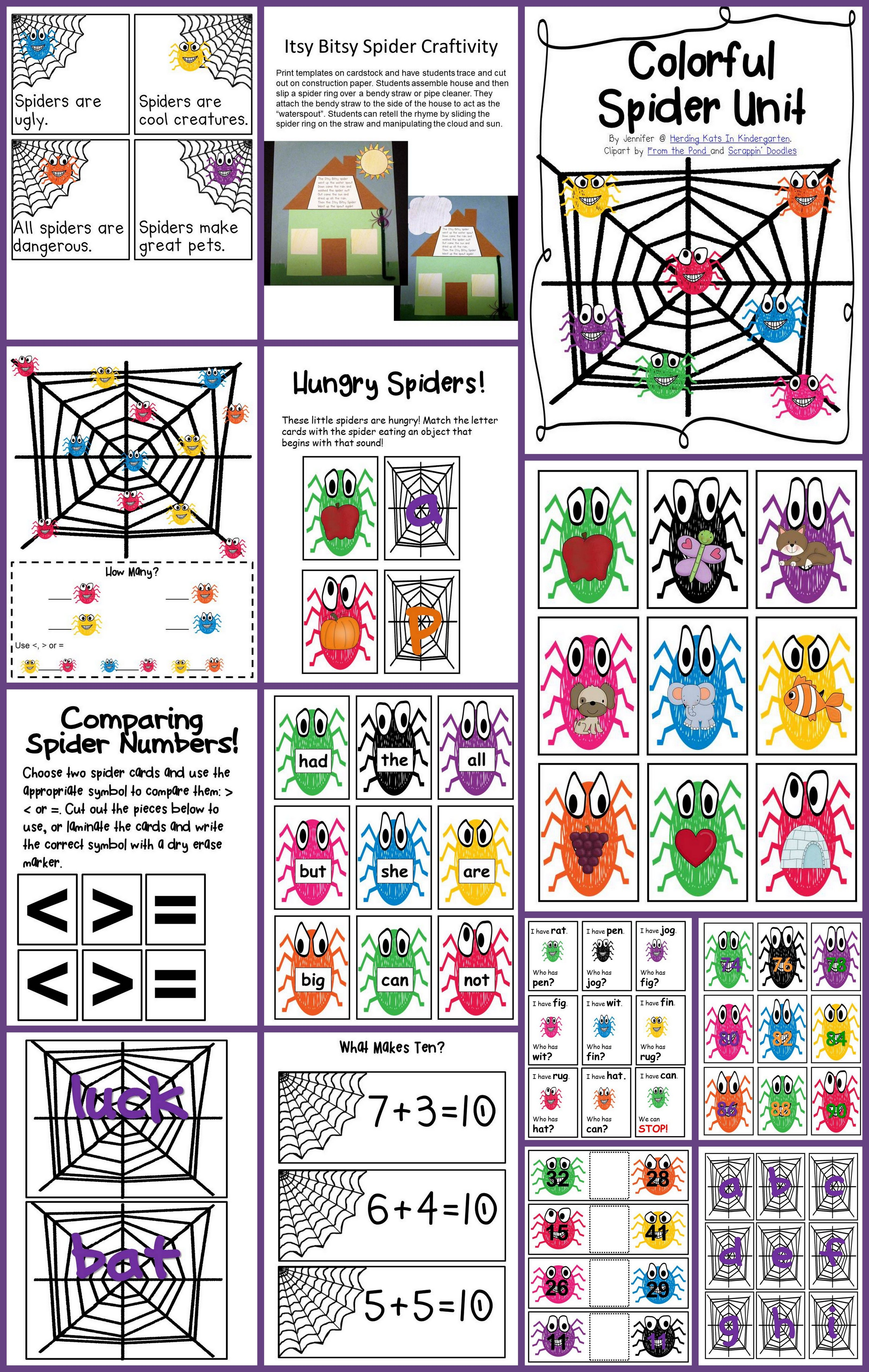 Spiders Math And Literacy Unit