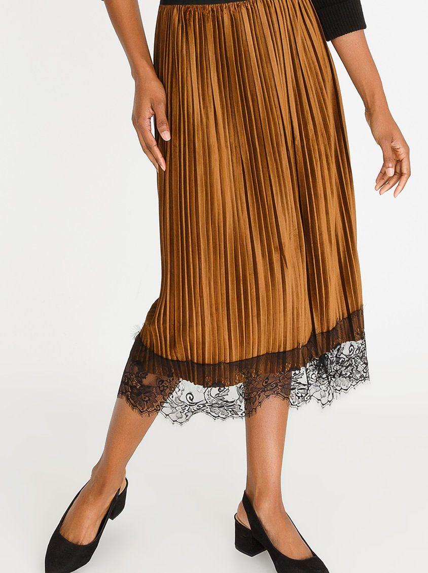 7b15bcfdcd59 Lace Trim Velour Skirt Mid Brown | MINE | Pinterest | Skirts, Velour ...