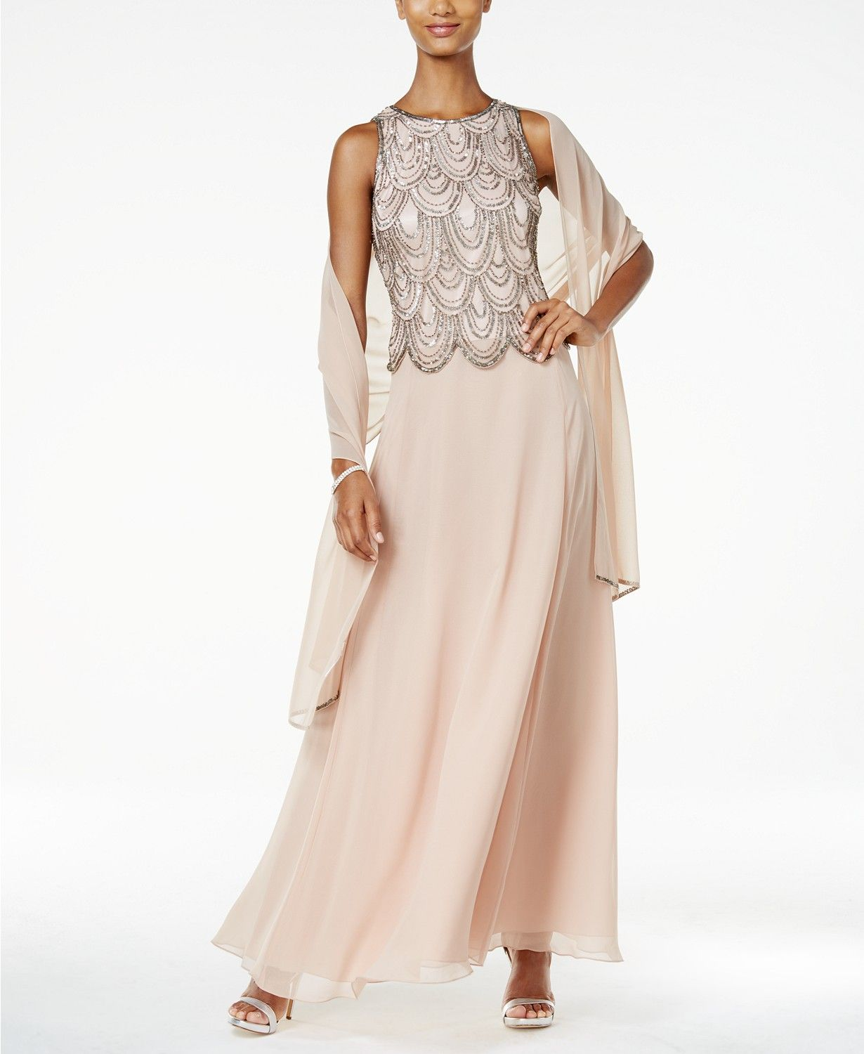7438b151f7b J Kara Embellished A-Line Gown and Scarf - Dresses - Women - Macy s ...
