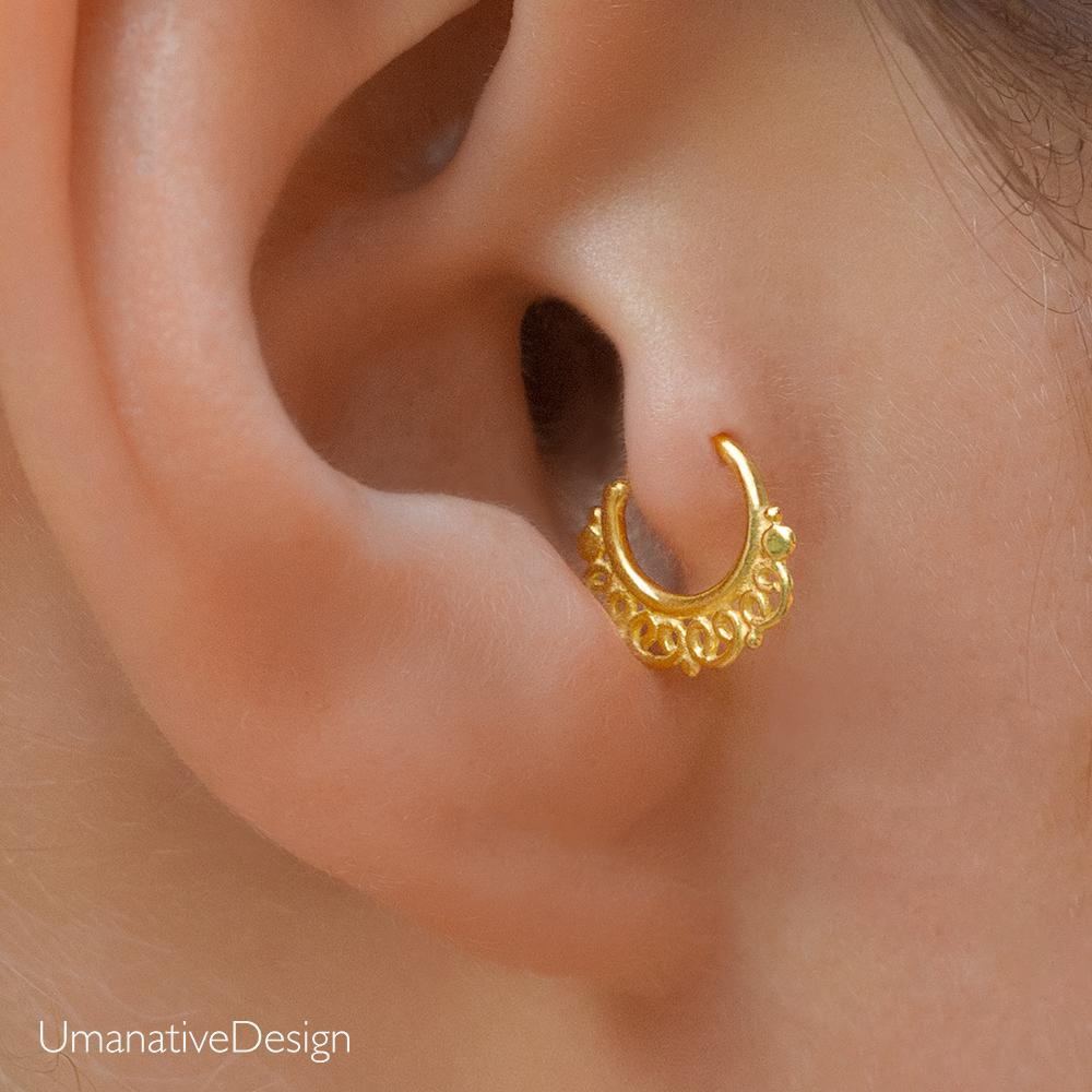 922320d85 Beautiful tiny hoop earring. Tribal, ethnic, delicate design. Can be worn as