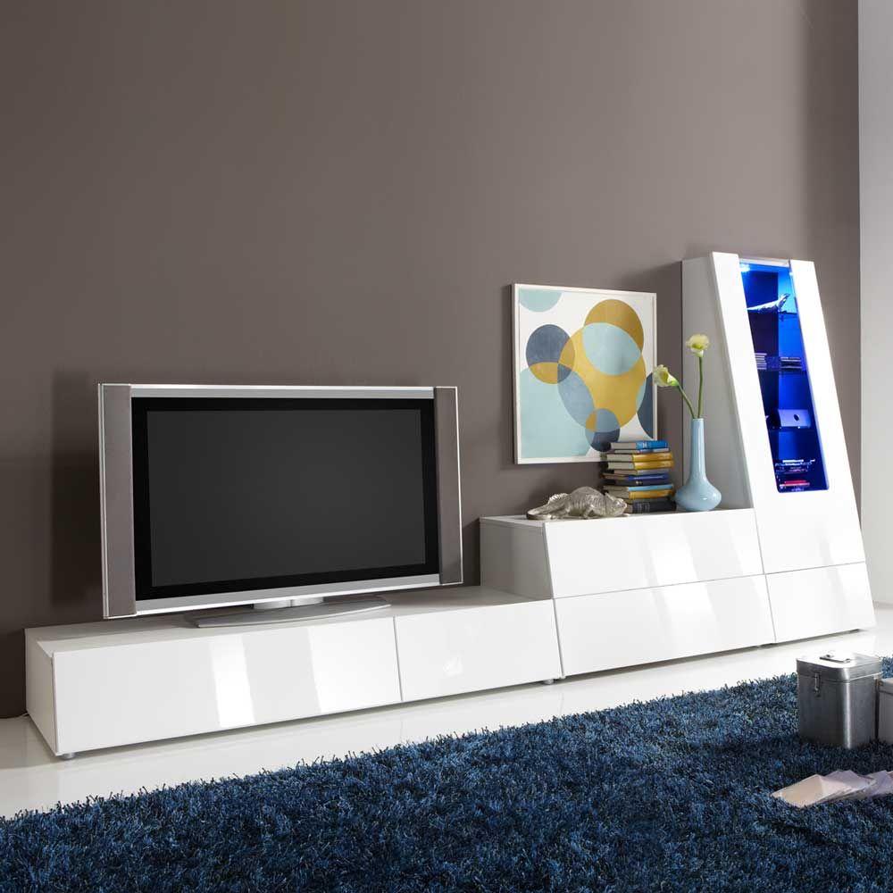 Tv Wohnwand In Wei Hochglanz Rgb Beleuchtung 3 Teilig Jetzt  # Meuble Tv Monza