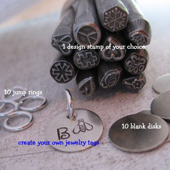 21 Piece JEWELRY TAG KIT And DESIGN STAMP NICKEL By Stampadoodle 1925