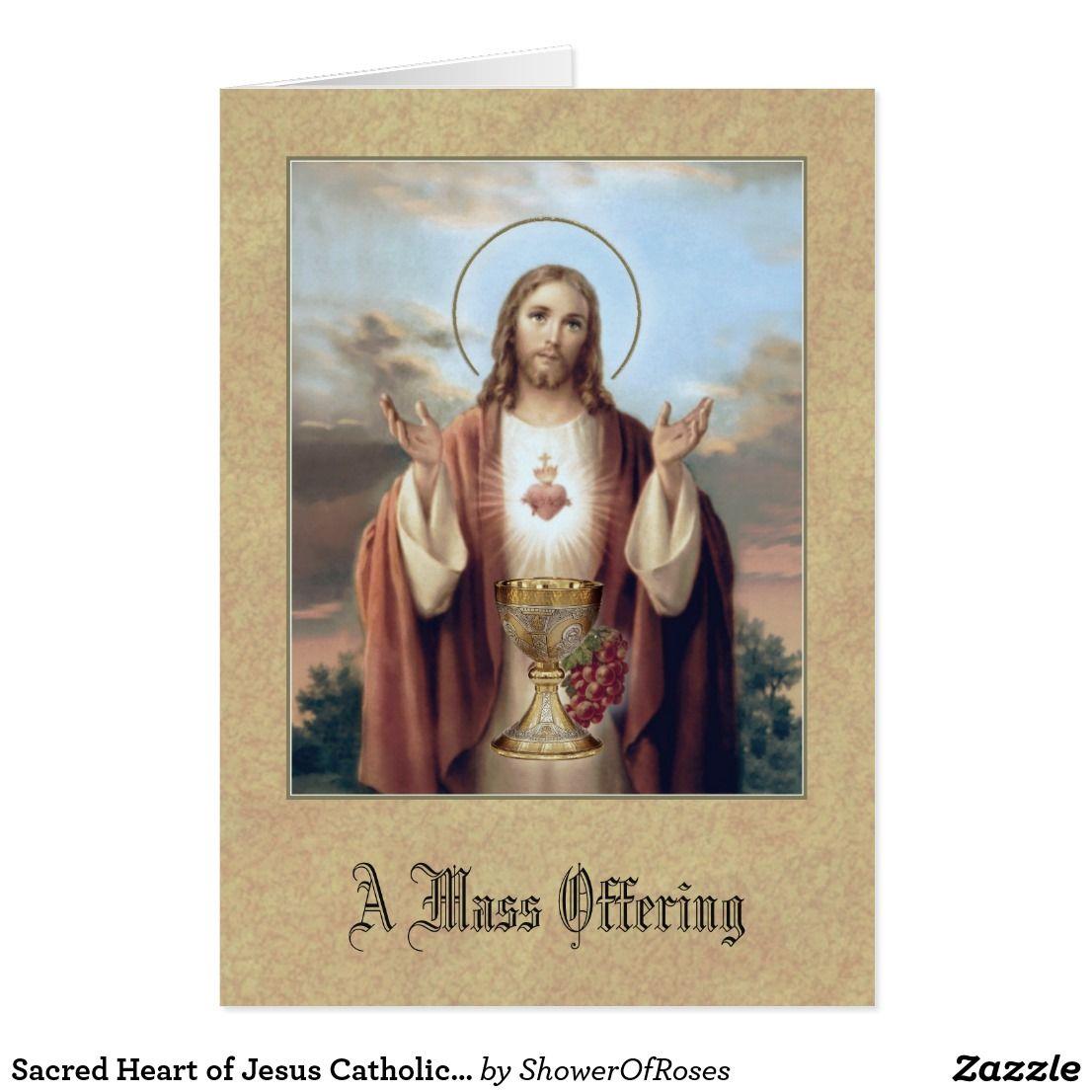 Sacred Heart Of Jesus Catholic Mass Offering Card