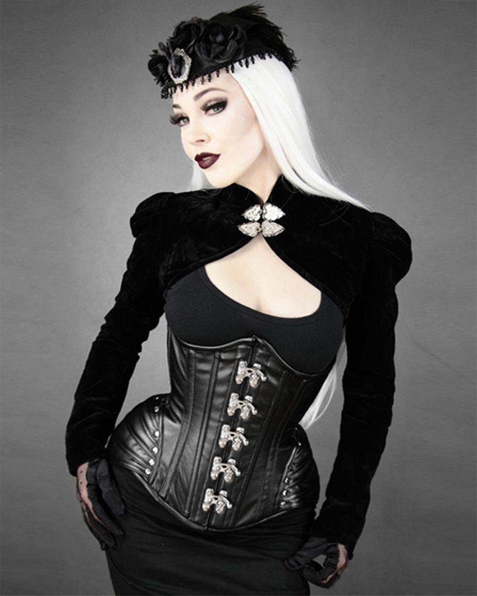 Restyle Black Velvet Gothic Steampunk Vtg Victorian Heart Lock Bolero Shrug Top | eBay
