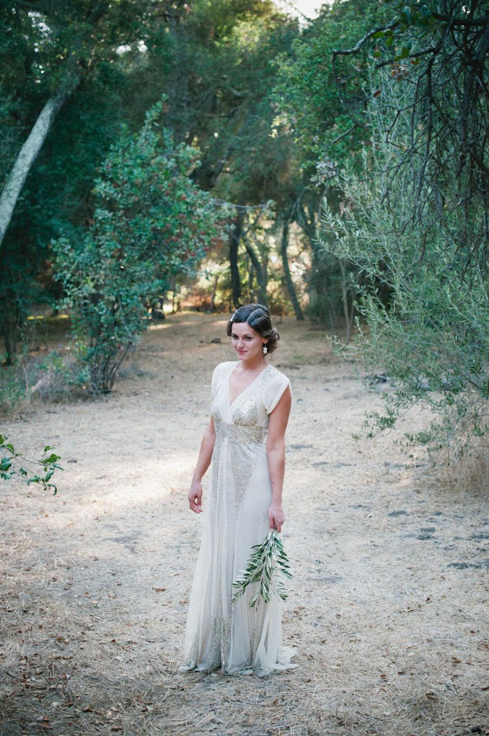 Anna sui sequins for a barefoot bride and her grecian style wedding