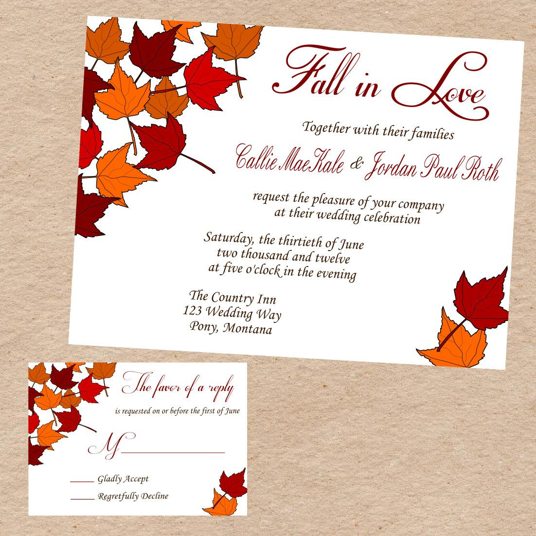 fall themed wedding invitation wording - 28 images - fall maple tree ...