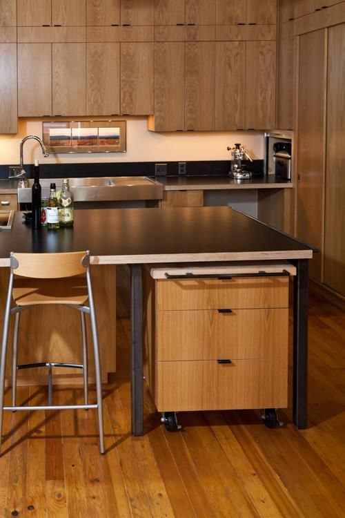 Rolling Cabinet Under Island Is Example Of Flexibility In Use Casters Allow It To Be Rolled Aside For Kitchen Desks Tiny House Interior Accessible Kitchen