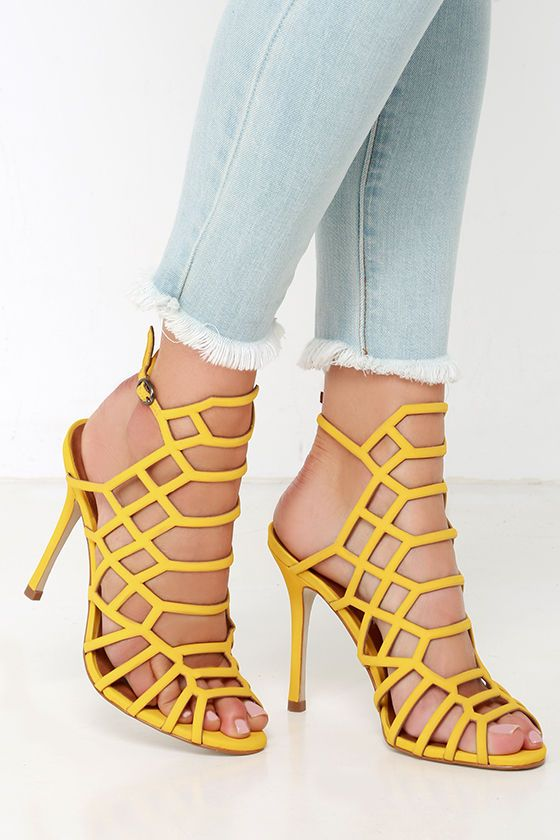 Steve Madden Slithur - Yellow Caged Heels - Leather Heels - $109.00