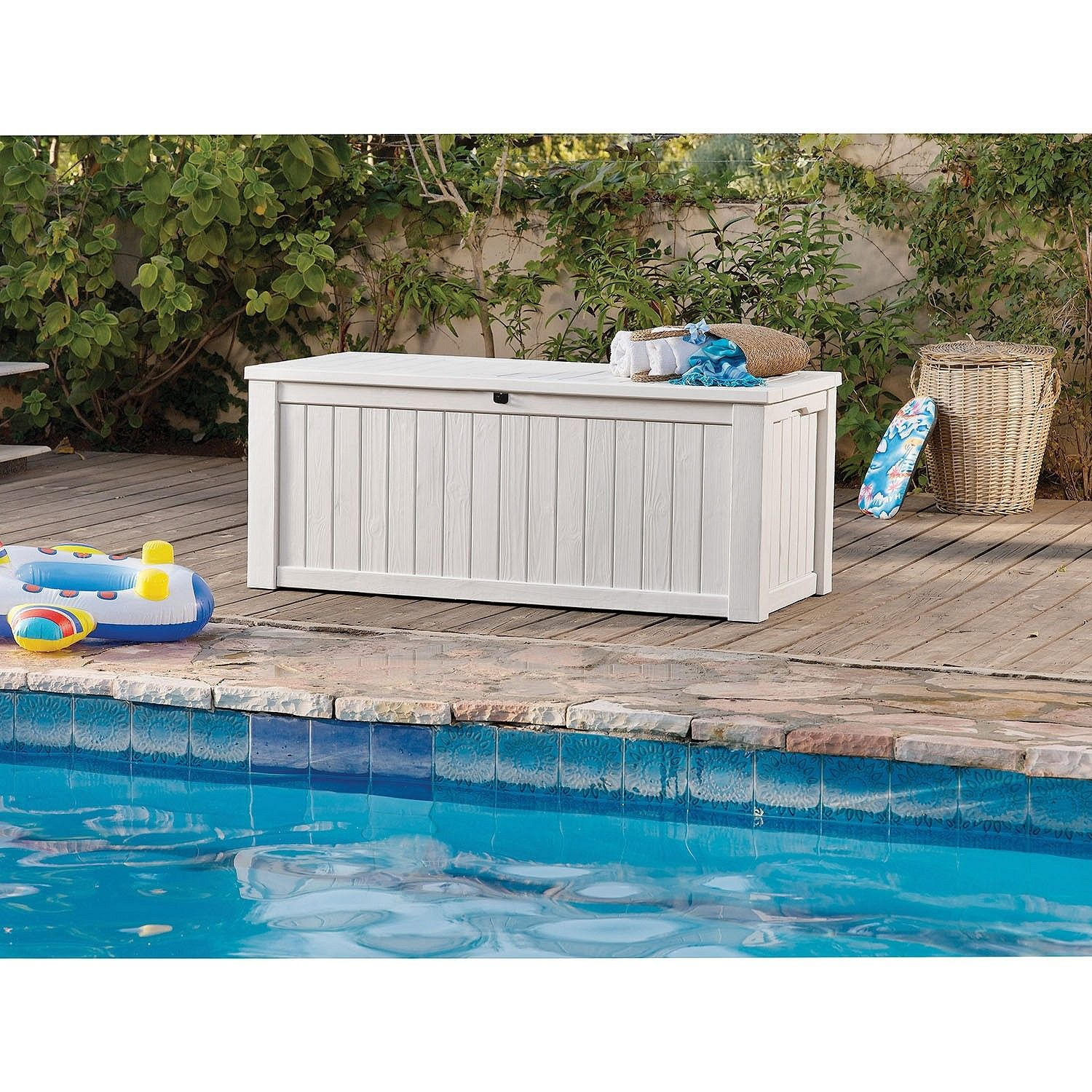 Keter Rockwood 150 Gallon Outdoor Plastic Storage Box White