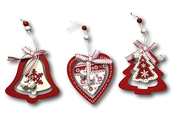 3 X Baumschmuck Anhänger Herz Glocke Tannenbaum Holzhänger Baumhänger Aus  Holz Rot Weiss Mit Glöckchen Und