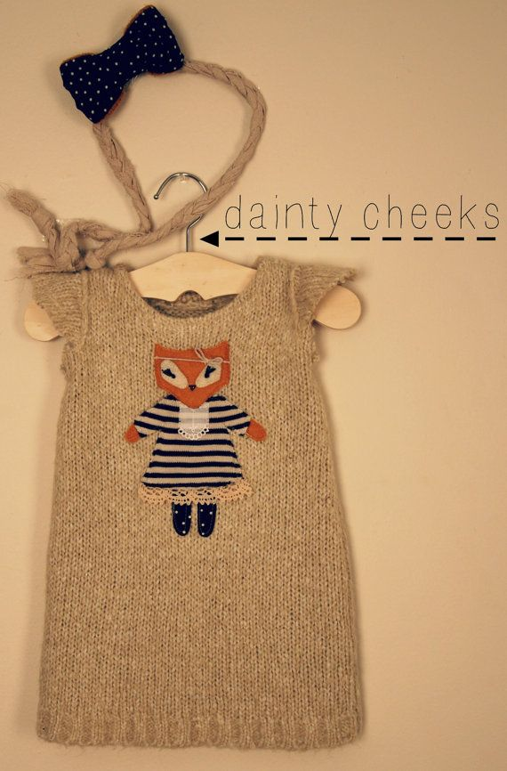 cream fox up cycled knit sweater dress by DaintyCheeksBoutique, $55.00 easy