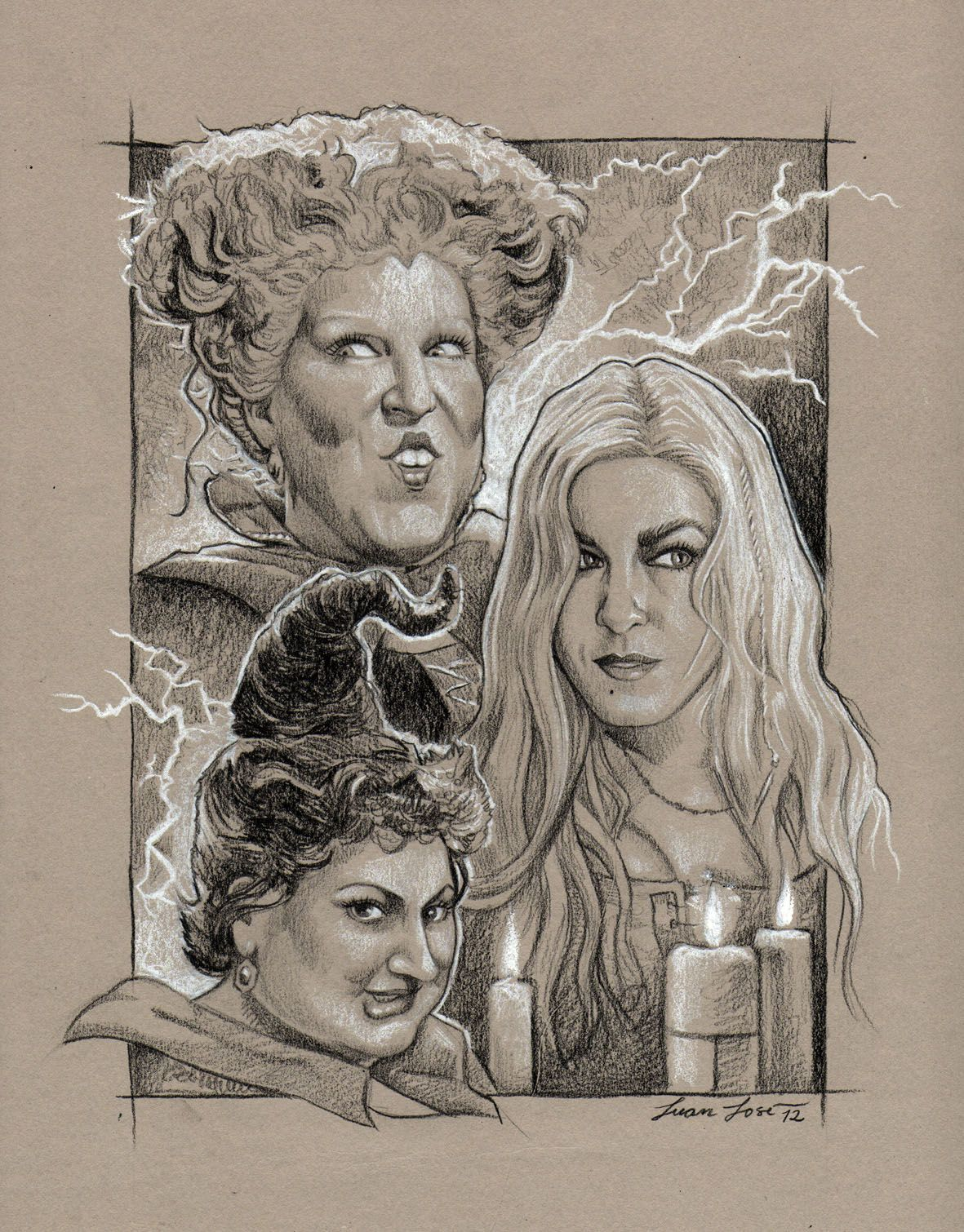 Halloween Town Movie Drawing.Hocus Pocus Drawing Made With Black And White Pencils Over Gray
