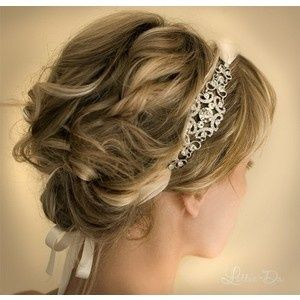 Need to see Hairstyles with Headbands :  wedding Curly Bridal Updo Hairstyle With Diamante And Ribbon Headband