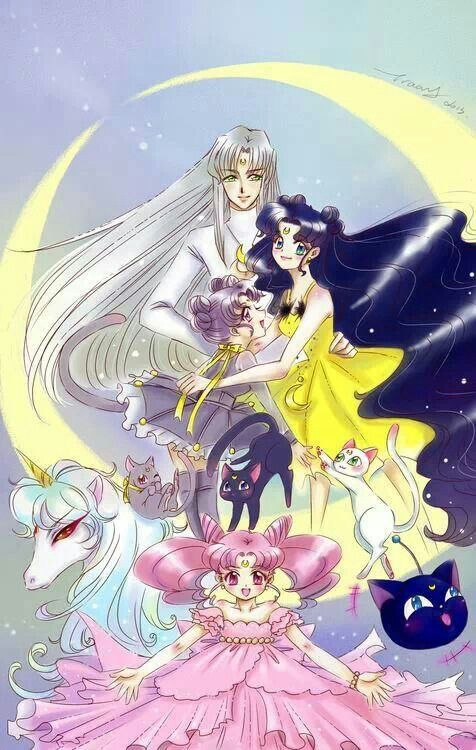 Sailor moon Human Luna and Artemis with Chibiusa | Sailor ...