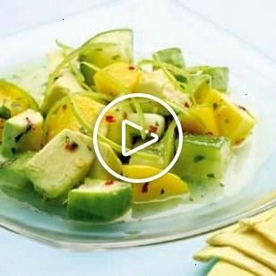 Tropical Cucumber Salad combine cucumber avocado and mango with a saltysweet dressing for a taste of the tropics EatingWell Cucumber Salad -- combine cucumber, avocado and mango with a salty-sweet dressing for a taste of the tropics. @EatingWellTropical Cucumber Salad -- combine cucumber, avocado and mango with a salty-sweet dressing for a taste of the tropics. @EatingWell