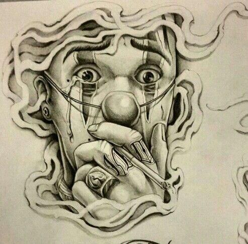 Chicano Arte Tatuagem De Palhaco Desenhos Chicano Tatuagens