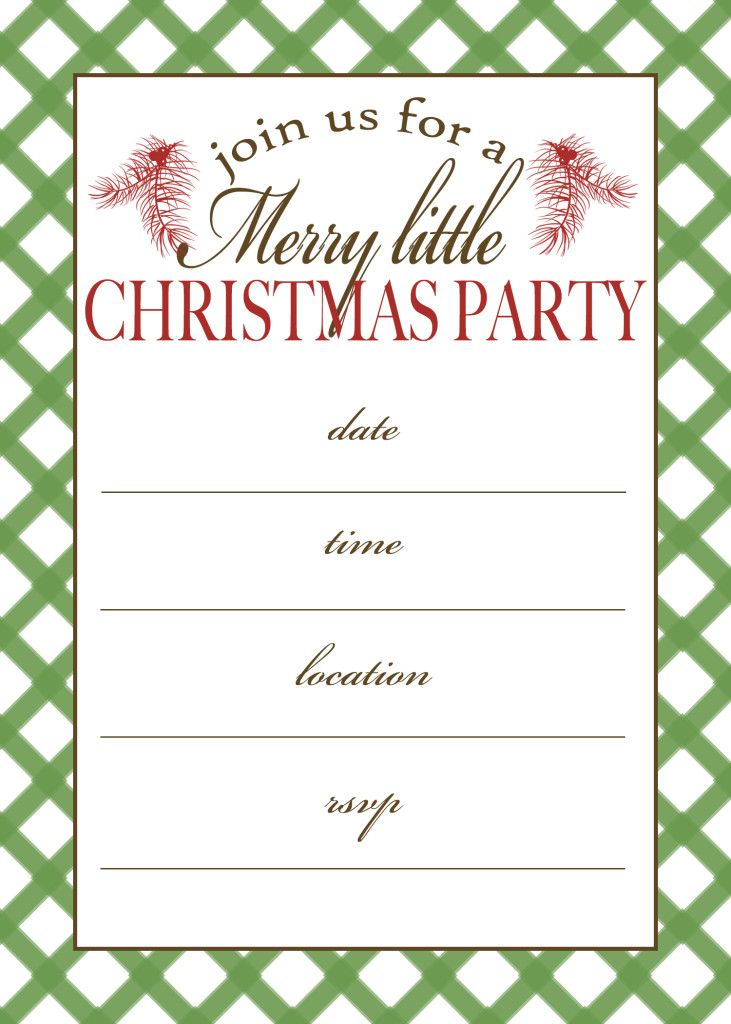 Free Printable Blank Christmas And Holiday Party Invitation With