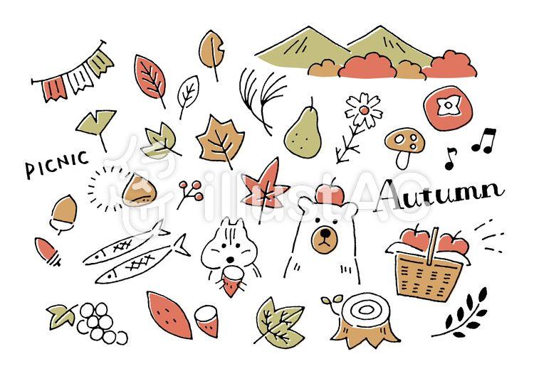クマとリスの秋手描き 手描きイラスト イラスト イラスト 手書き