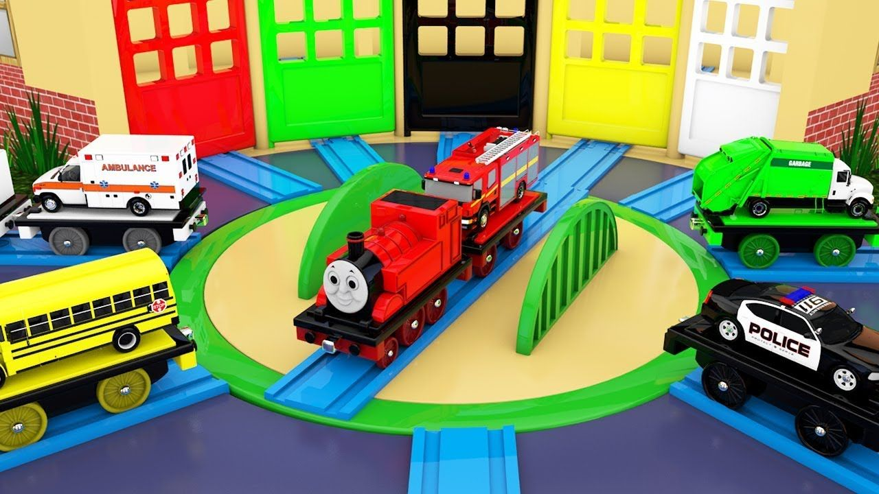Colors for Children to Learn with Street Vehicles, Toy Train Track ...