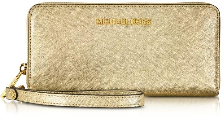 ddfd51ae92ce ... spain michael kors jet set travel pale gold metallic saffiano leather  continental wallet 614e3 bc366