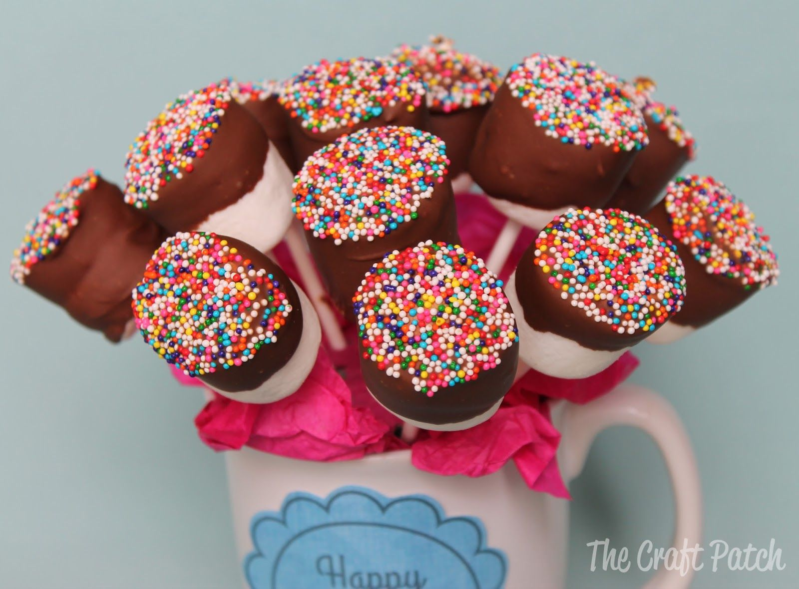 marshmallow bouquet - Google Search. USE GRAHAM CRACKER CRUMBS ON ...