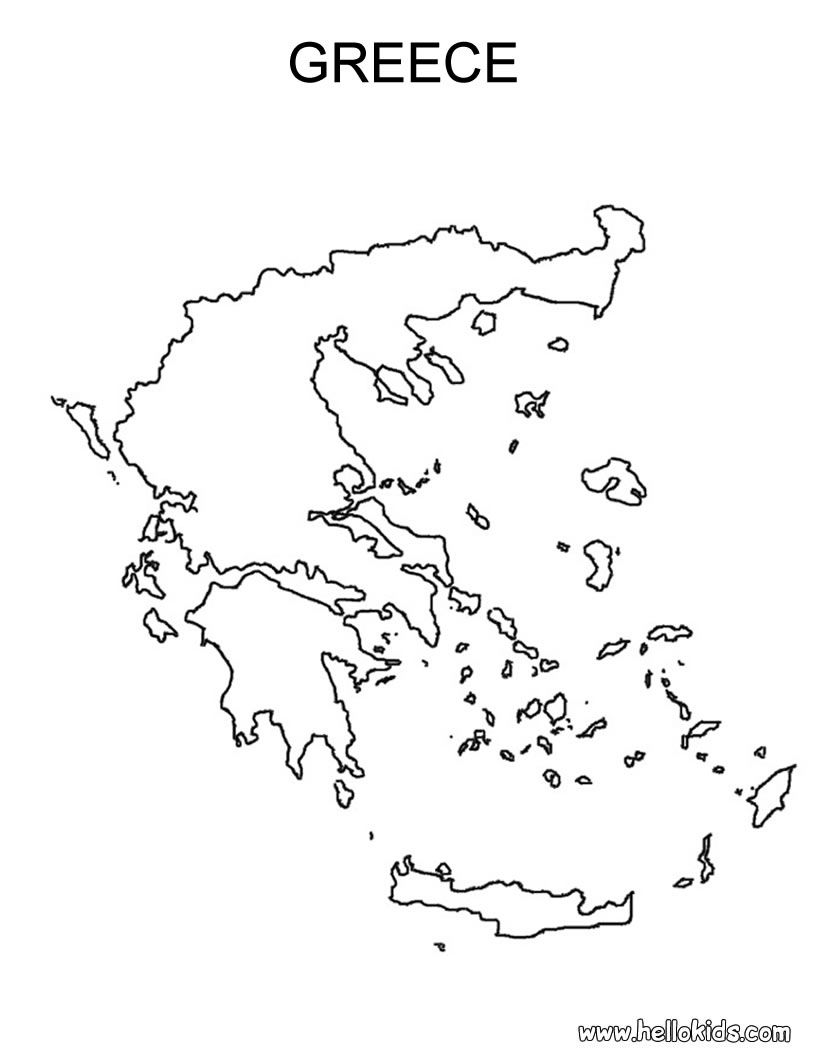Free Coloring Maps For Kids Greece Coloring Page Greece Map