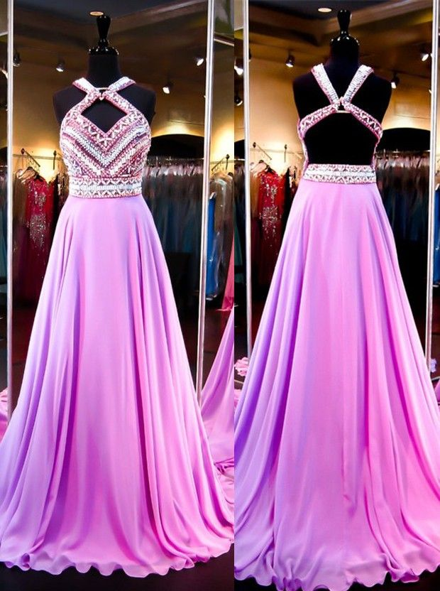 Buy Sexy A-Line Halter Court Train Purple Prom Dress With Beading ...
