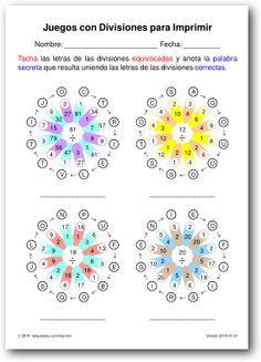 Juegos con Divisiones para Imprimir   Operaciones   Divisiones ...
