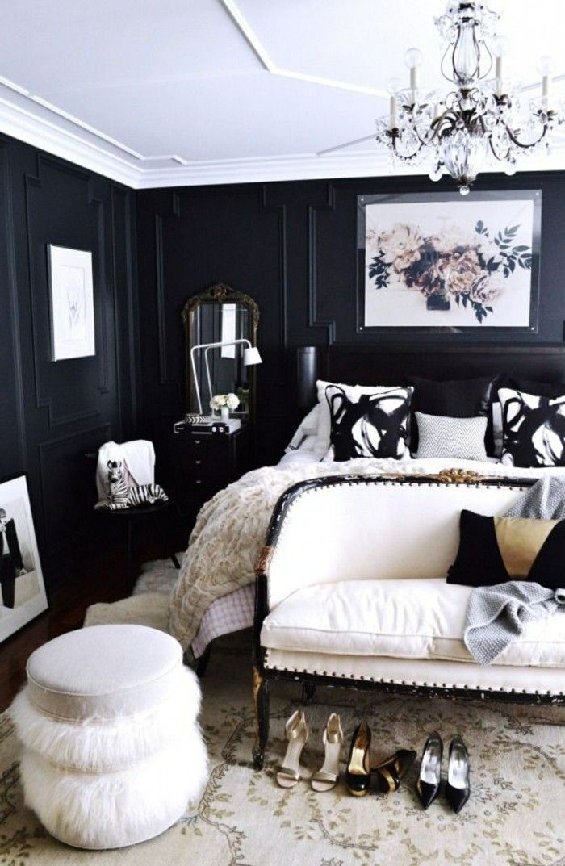 Bedroom Set Black White Ceiling Walls Bench Stool