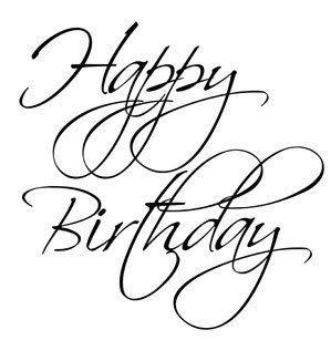 happy birthday cursive text