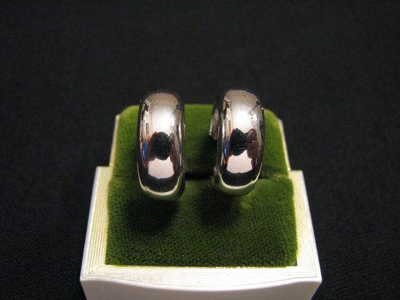 Vintage Monet Silver Plated Hoop Pierced Earrings By Jewelrystash Jewelry