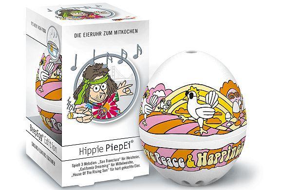 """Das """"PiepEi"""" schlägt Alarm.  Geschenkidee zu Ostern: Witziger Küchenhelfer für Frühstücksfans. Flower-Power-Fans der Sixties lassen sich mit Ohrwürmern wie """"California Dreamin'"""" ans Ende der Garzeit fürs Ei erinnern. Foto: djd/BRAINSTREAM GmbH"""