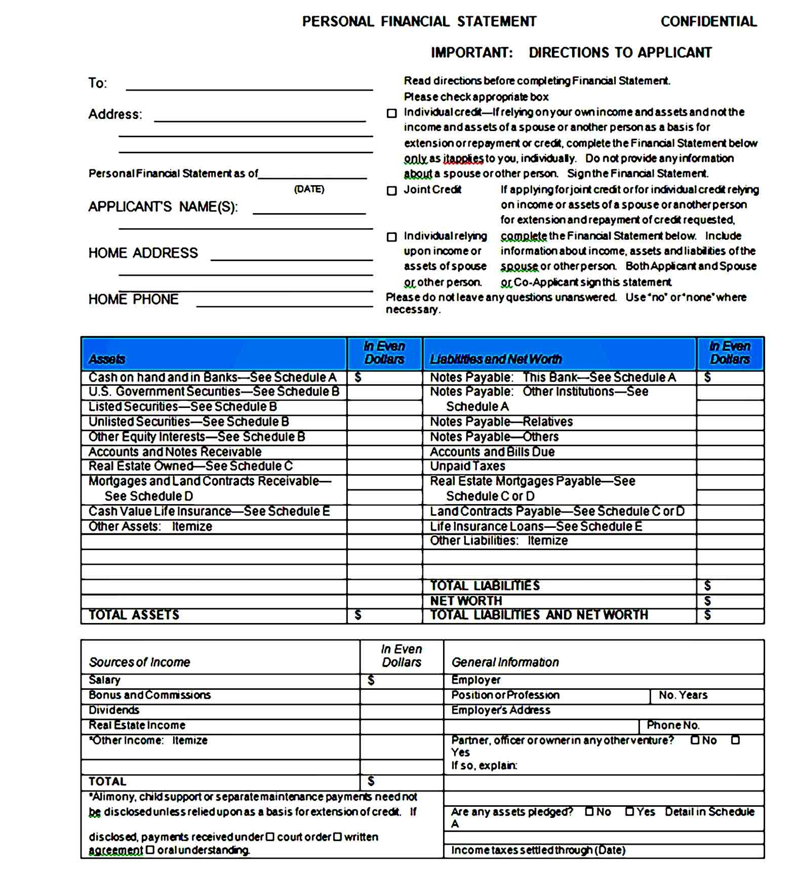 Sample Personal Financial Statement Template Bank Form Huntington Webster