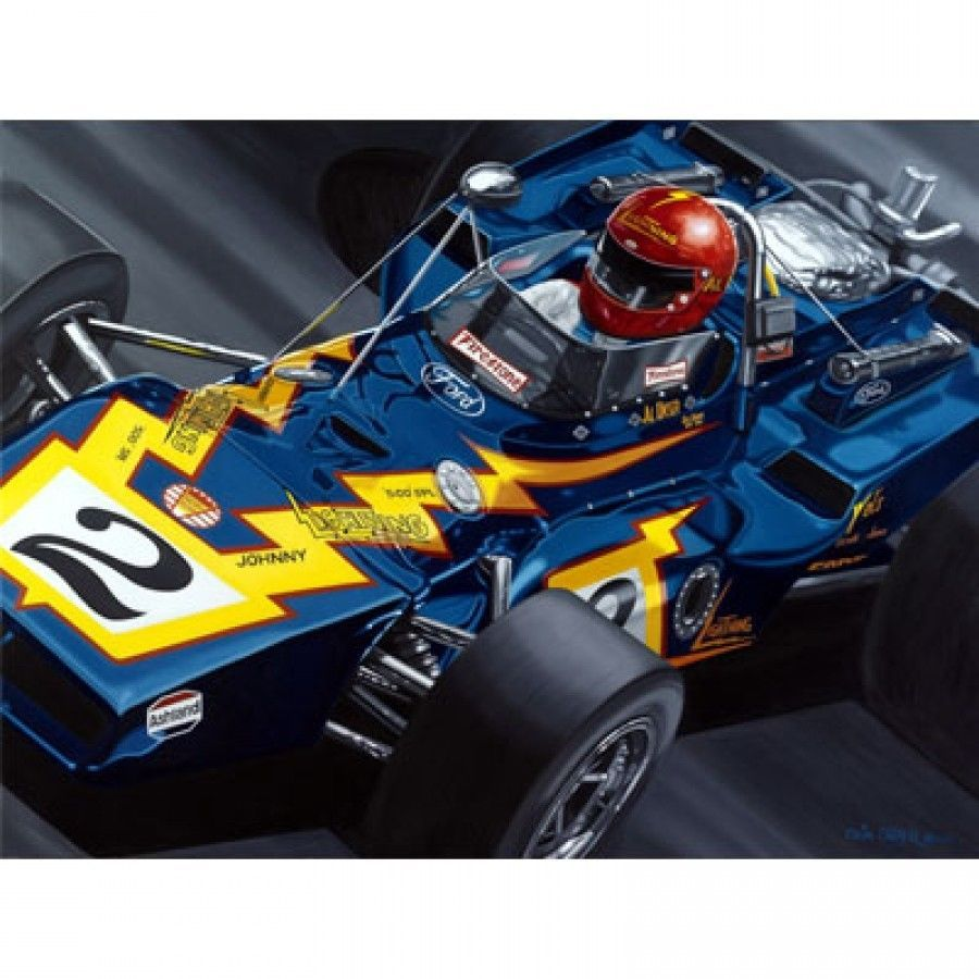 A J FOYT AL UNSER RICK MEARS INDY 500 COLIN CARTER LITHOGRAPH 4 TIME WINNERS
